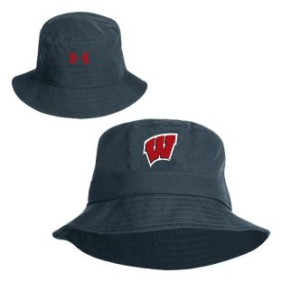 Wisconsin Badgers Under Armour Grey Sideline Coolswitch Airvent Bucket Cap