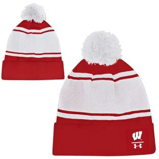 Wisconsin Badgers Under Armour Sideline Cuffed Pom Knit Cap