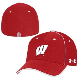 Wisconsin Badgers Under Armour Sideline Isochill Blitzing Accent Flex Cap