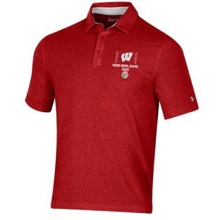 Wisconsin Badgers Under Armour Red 2020 Rose Bowl Dash Polo