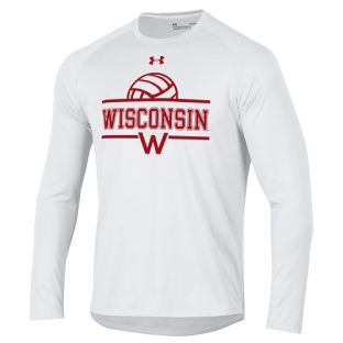 Wisconsion Badgers Under Armour White Volleyball Rally Tech Long Sleeve