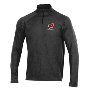 Wisconsin Badgers Basketball Under Armour Black Text 1/4 Zip