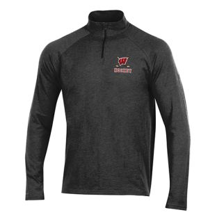 Wisconsin Badgers Hockey Under Armour Black Sticks 1/4 ZIp