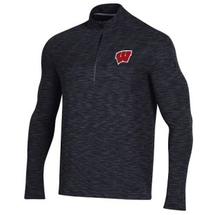 Wisconsin Badgers Under Armour Black W Vanish 1/4 Zip