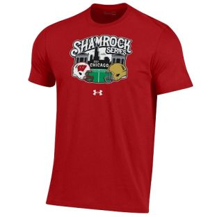 Wisconsin Badgers Under Armour Red 2021 Football Shamrock Series Performance Cotton T-Shirt