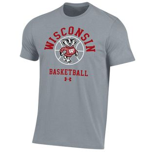Wisconsin Badgers Under Armour Steel Basketball Bucky Performance Cotton T-Shirt