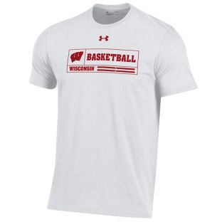 Wisconsin Badgers Under Armour White Basketball 2020 On FieldT-Shirt