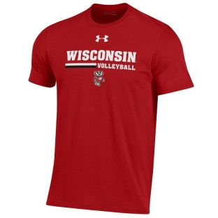 Wisconsin Badgers Under Armour Red Volleyball Lines Performance Cotton T-Shirt