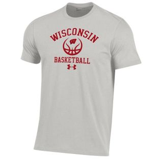 Wisconsin Badgers Under Armour Silver Heather Basketball Performance Cotton Basic T-Shirt