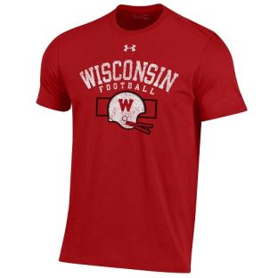 Wisconsin Badgers Under Armour Red Football Retro Box Performance Cotton T-Shirt