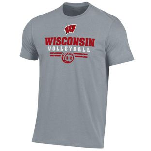 Wisconsin Badgers Under Armour Steel Volleyball Cotton Sport T-Shirt