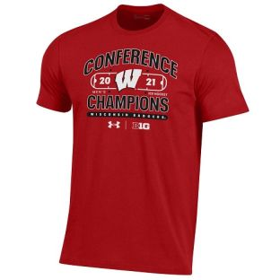 Wisconsin Badgers Under Armour Red 2021 Men's Hockey Big 10 Conference Champions Issue T-Shirt
