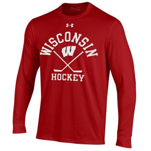Wisconsin Badgers Under Armour Red Hockey Arc W Stick Performance Cotton Long Sleeve