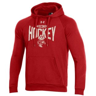 Wisconsin Badgers Hockey Under Armour Red Hat Trick All Day Fleece Hooded Sweatshirt
