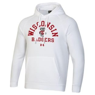 Wisconsin Badgers Under Armour White Bucky Dome Hooded Sweatshirt