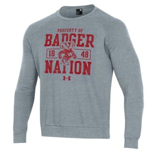 Wisconsin Badgers Under Armour Grey Badger Nation Crewneck Sweatshirt
