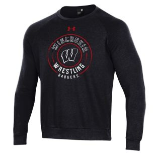 Wisconsin Badgers Wrestling Under Armour Black Mat All Day Crewneck Sweatshirt