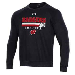 Wisconsin Badgers Basketball Under Armour Black Stripe All Day Fleece Crew