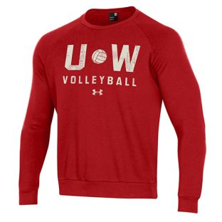Wisconsin Badgers Volleyball Under Armour Red UW Crewneck Sweatshirt