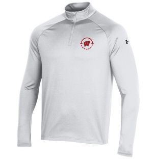 Wisconsin Badgers Under Armour White 2021 Basketball Coaches Performance 1/4 Zip