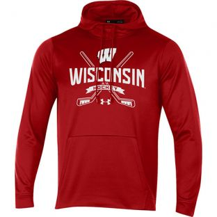 Wisconsin Badgers Under Armour Red Hockey Faceoff Hooded Sweatshirt