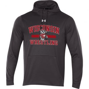 Wisconsin Badgers Wrestling Under Armour Charcoal Bucky Line Hooded Sweatshirt