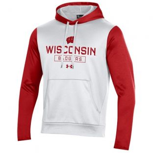 Wisconsin Badgers Under Armour White & Red Armour Fleece Stencil Box Hooded Sweatshirt