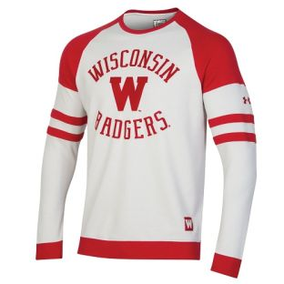 Wisconsin Badgers Under Armour Red & White Iconic Oval Crewneck