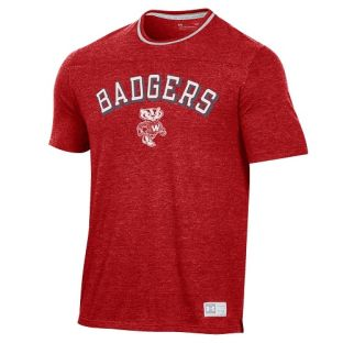 Wisconsin Badgers Under Armour Heather Red Double Ringer T-Shirt