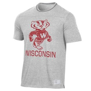Wisconsin Badgers Under Armour Silver Vault Bucky Ringer T-Shirt