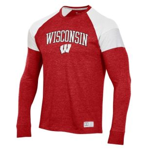 Wisconsin Badgers Under Armour Red Arch Motion W Insert Long Sleeve T-Shirt