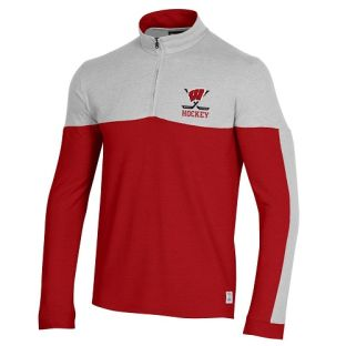Wisconsin Badgers Under Armour Red & Silver Hockey Gameday 1/4 Zip