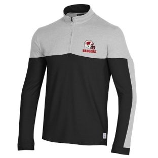 Wisconsin Badgers Under Armour Black & Silver Football Helmet Gameday 1/4 Zip