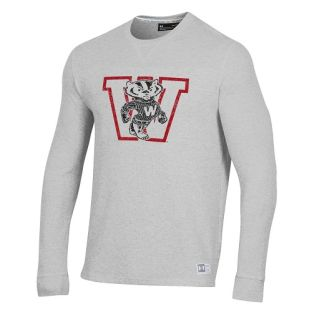 Wisconsin Badgers Under Armour Silver Block Bucky Retro Off Grid Waffle Crew