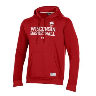 Wisconsin Badgers Under Armour Red Basketball Stack Terrain Hooded Sweatshirt