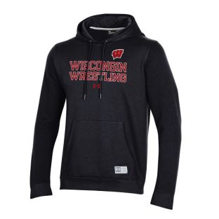 Wisconsin Badgers Under Armour Black Wrestling Stack Terrain Hooded Sweatshirt