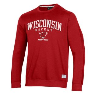 Wisconsin Badgers Under Armour Red Hockey Arch Terrain Crewneck Sweatshirt