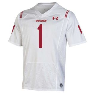 Wisconsin Badgers Under Armour White 2021 Shamrock Series Forward Football Jersey