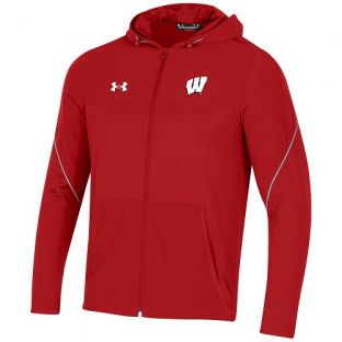Wisconsin Badgers Under Armour Red 2021 Sideline Warm Up Full Zip Jacket