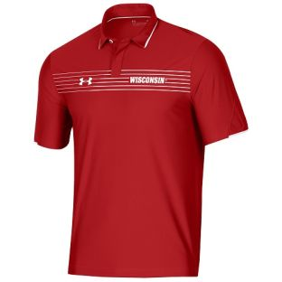 Wisconsin Badgers Under Armour Red 2021 Sideline Chest Stripe Polo