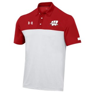 Wisconsin Badgers Under Armour Red & White 2021 Sideline Shamrock Series Forward Polo