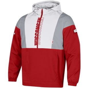 Wisconsin Badgers Under Armour Red & White 2021 Sideline Legacy Jacket