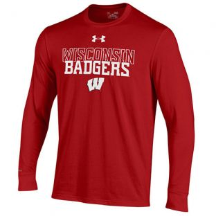 Wisconsin Badgers Under Armour Stacked W Charged Long Sleeve T-Shirt