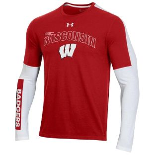 Wisconsin Badgers Under Armour Red & White 2020 Basketball Shooter Long Sleeve T-Shirt