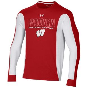 Wisconsin Badgers Under Armour Red & White 2021 Basketball Shooting Shirt