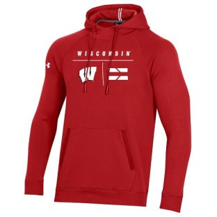 Wisconsin Badgers Under Armour Sideline Campus Fleece Hooded Sweatshirt