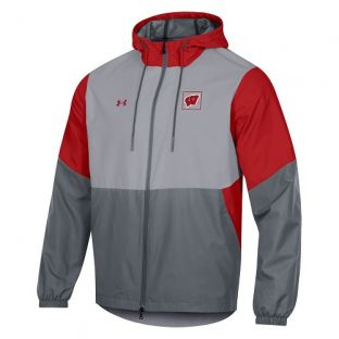 Wisconsin Badgers Under Armour Red & Gray 2020 Sideline Fieldhouse Full Zip Jacket