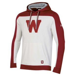 Wisconsin Badgers Under Armour Red & White Iconic Letter Hooded Sweatshirt