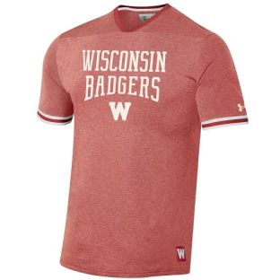 Wisconsin Badgers Under Armour Red Iconic Stack W V-Neck Triblend T-Shirt