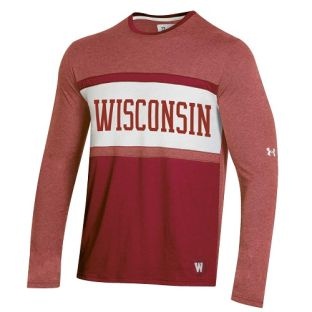 Wisconsin Badgers Under Armour Red Iconic Bar Long Sleeve
